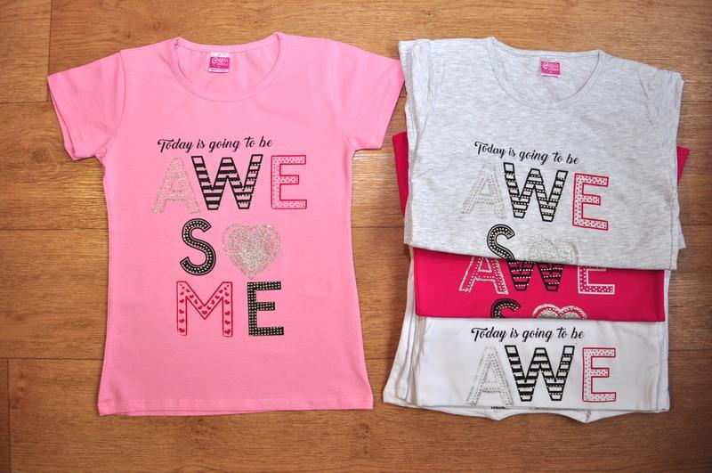Яркие, модные футболки для девочки, турция, от 5 до 9 лет, бус...