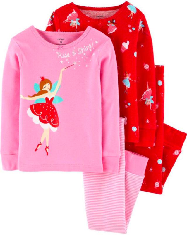 Розовая хлопковая пижама carters америка на 2-3 года для девочки