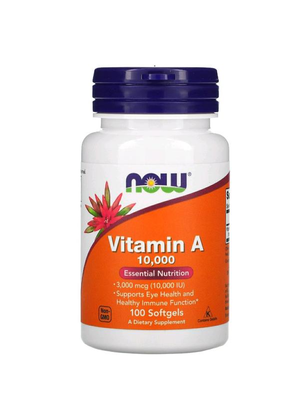 Витамин A, 10 000 МЕ, 100 мягких таблеток, Now Foods, vitamin A,