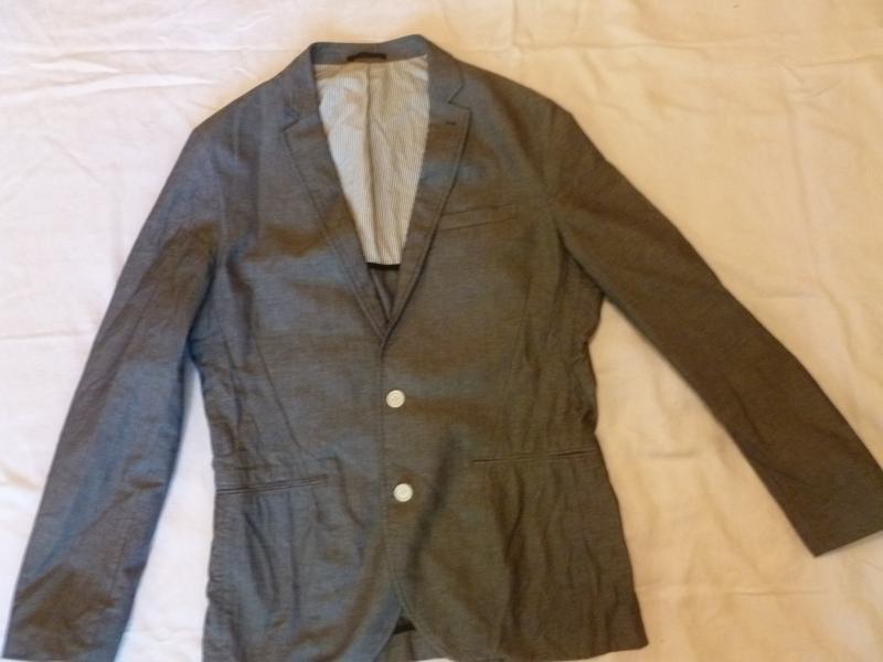 Стильный натуральный легкий пиджак цвет под джинс 100 % котон ...
