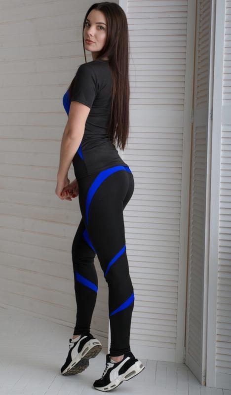Спортивный костюм для фитнеса футболка лосины