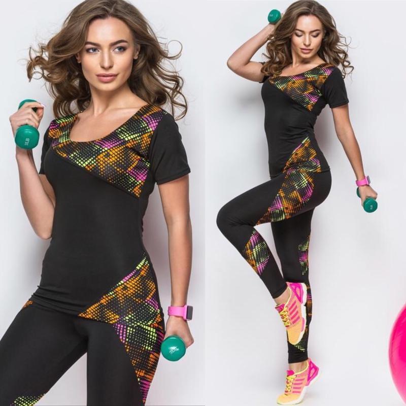 Спортивный костюм для фитнеса йоги футболка лосины