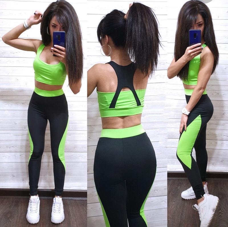 Костюм для фитнеса топ и лосины спортивный костюм