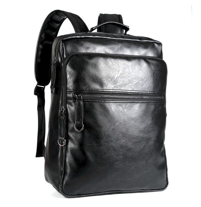 Мужской кожаный черный городской рюкзак портфель ранець сумка для