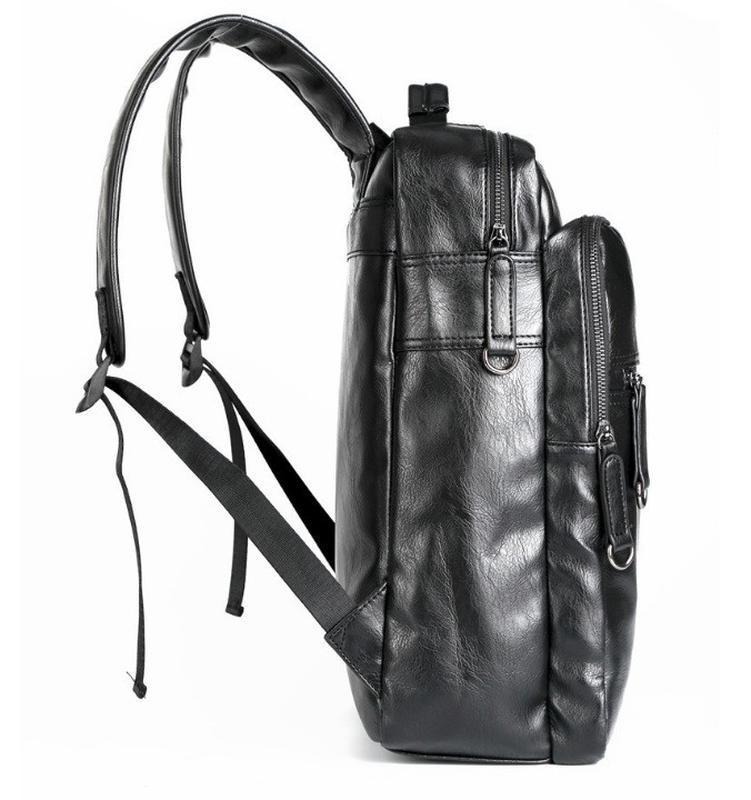 Мужской кожаный черный городской рюкзак портфель ранець сумка для - Фото 2