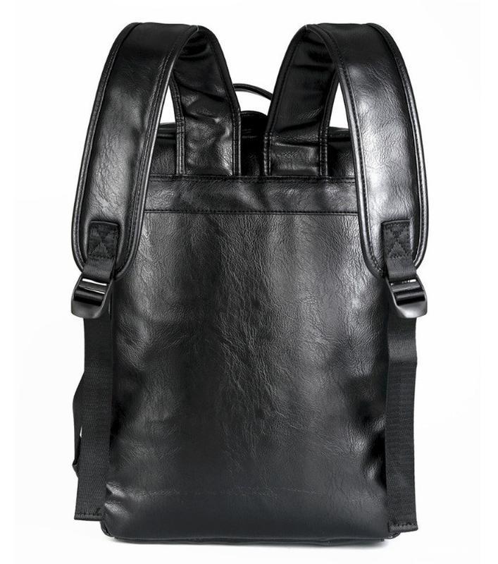 Мужской кожаный черный городской рюкзак портфель ранець сумка для - Фото 3