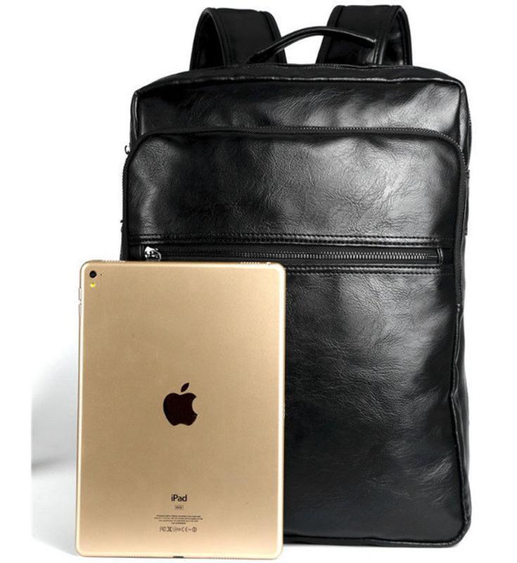 Мужской кожаный черный городской рюкзак портфель ранець сумка для - Фото 4