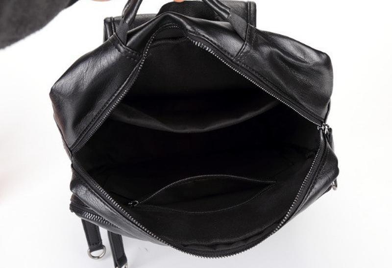 Мужской кожаный черный городской рюкзак портфель ранець сумка для - Фото 5