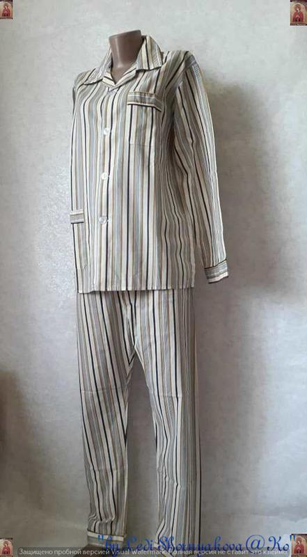 Новая со 100 % натурального хлопка пижама в мелкие полосочки, ... - Фото 2