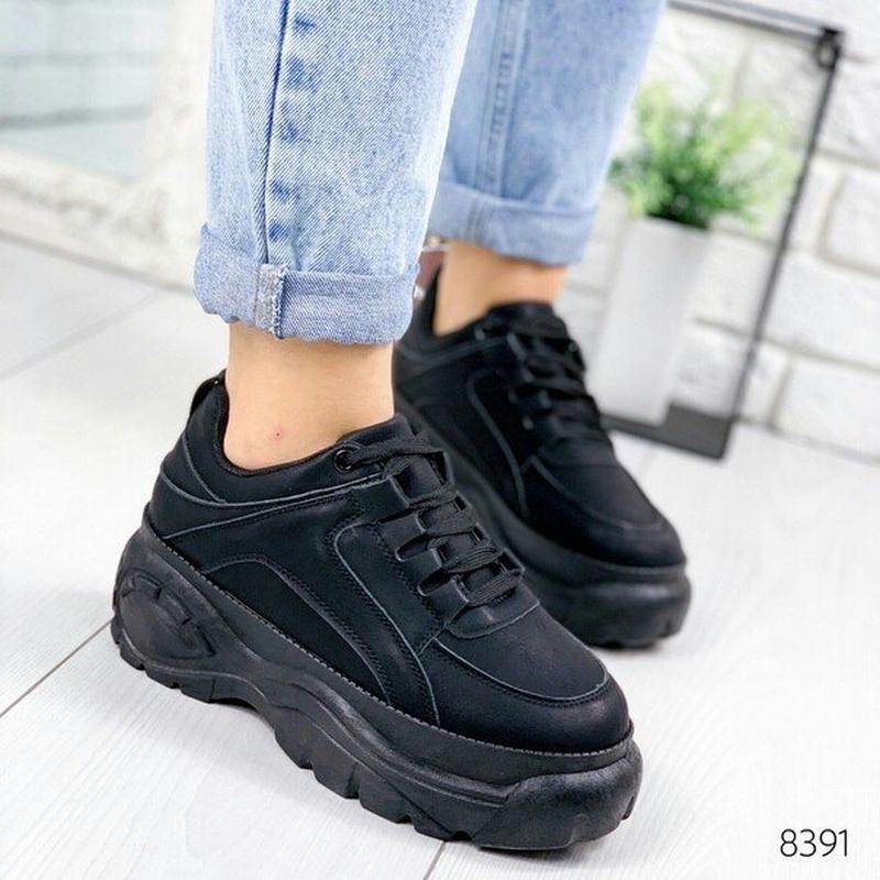 Черные женские кроссовки в стиле buff@lo, чорні кросівки на пл...