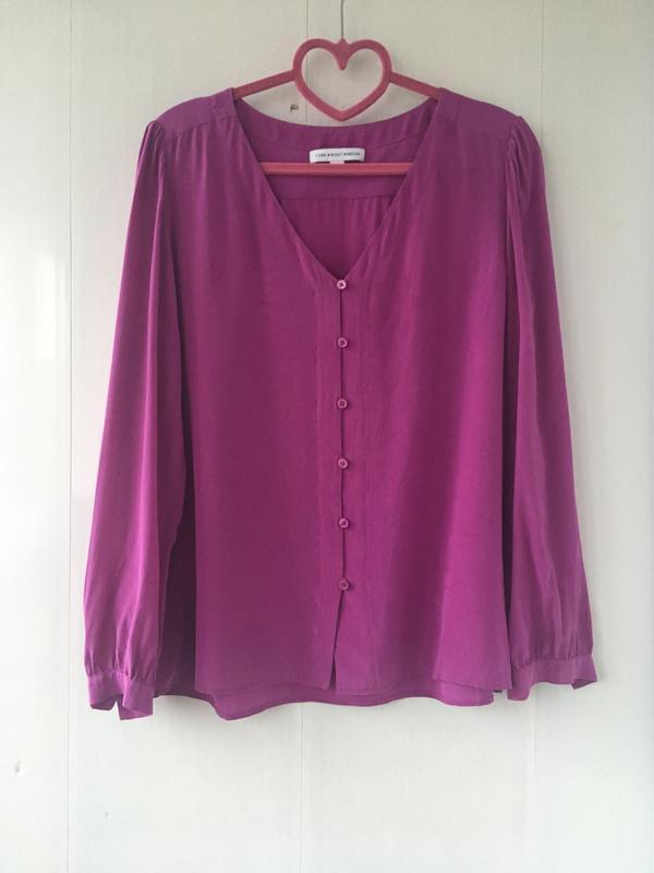 Роскошная шелковая блузка, сочный малиновый цвет, fenn wright ... - Фото 2