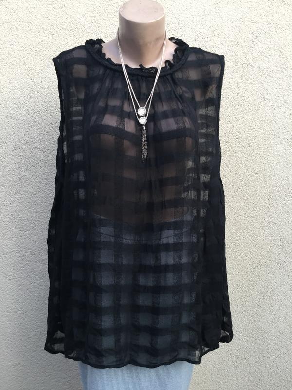 Блуза,майка,рубаха свободный крой,прозрачная клетка,этно,бохо ...