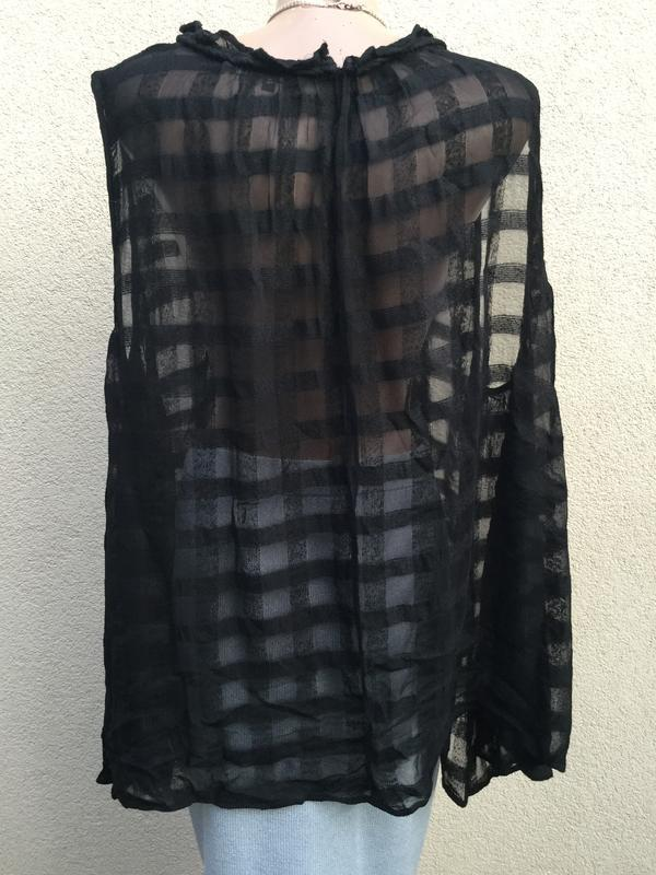 Блуза,майка,рубаха свободный крой,прозрачная клетка,этно,бохо ... - Фото 5