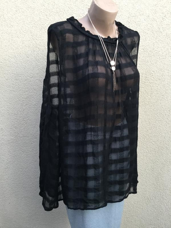 Блуза,майка,рубаха свободный крой,прозрачная клетка,этно,бохо ... - Фото 6