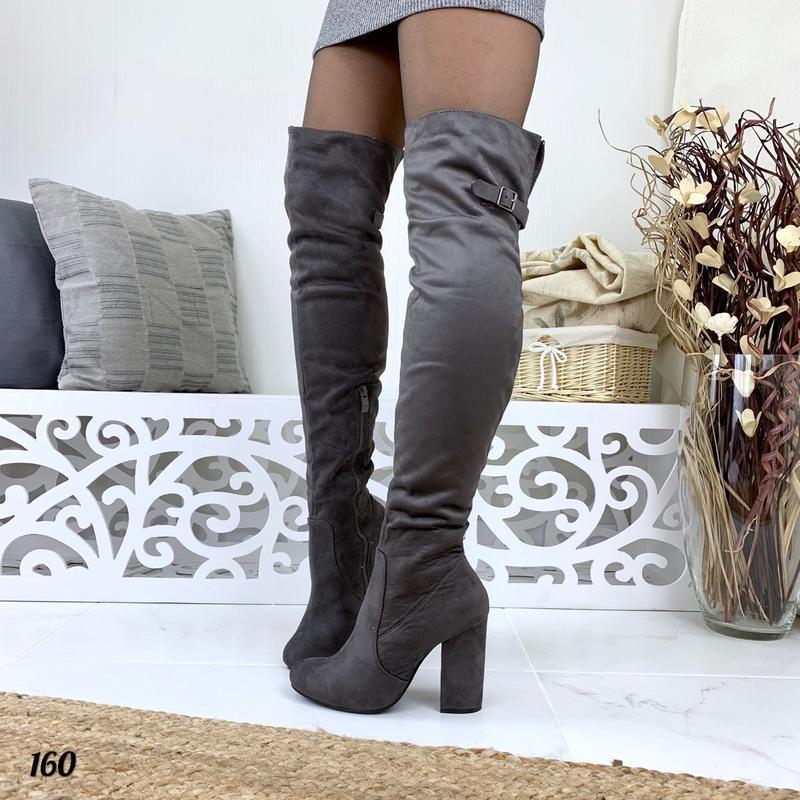 Замшевые осенние ботфорты ботфорды на высоком каблуке