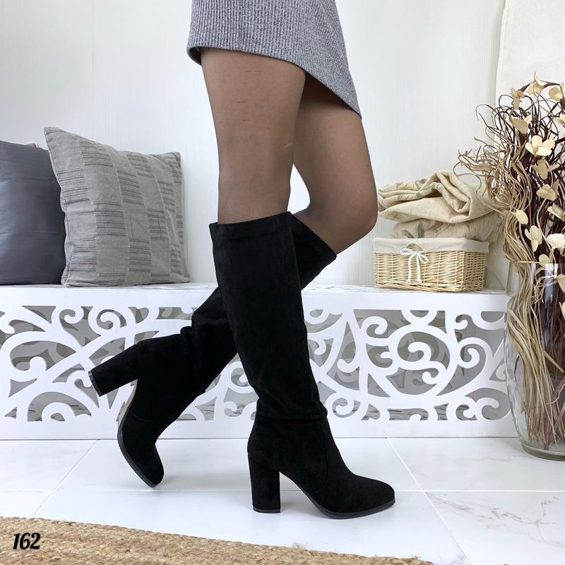 Замшевые осенние сапоги на удобном каблуке