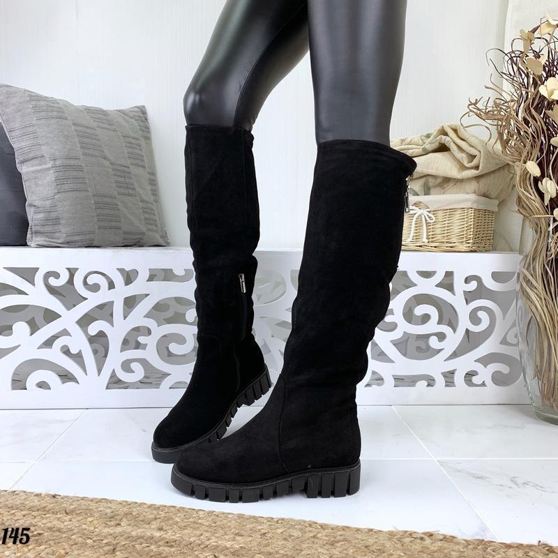 Натуральная замша зимние замшевые сапоги на модной подошве