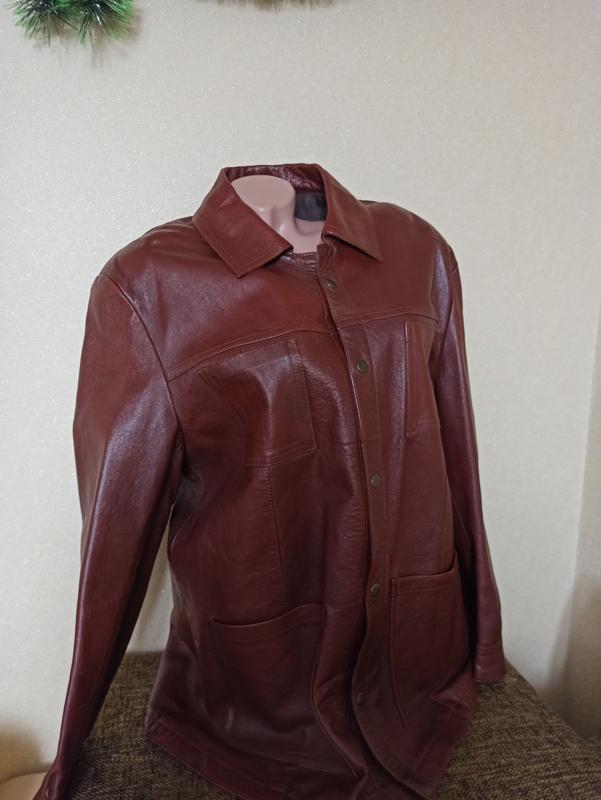 Куртка кожаная коричневая, мужская куртка демисезонная
