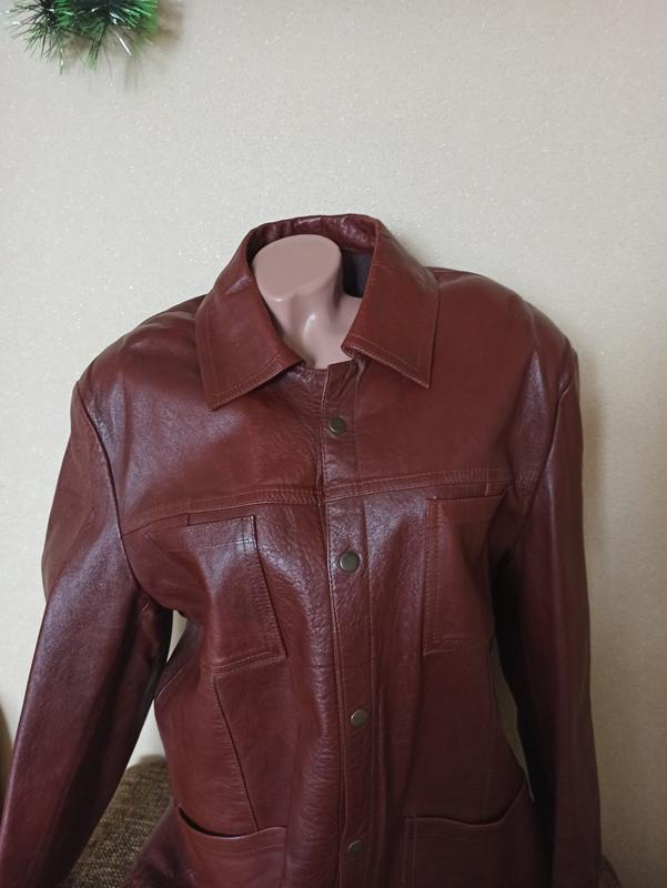 Куртка кожаная коричневая, мужская куртка демисезонная - Фото 2