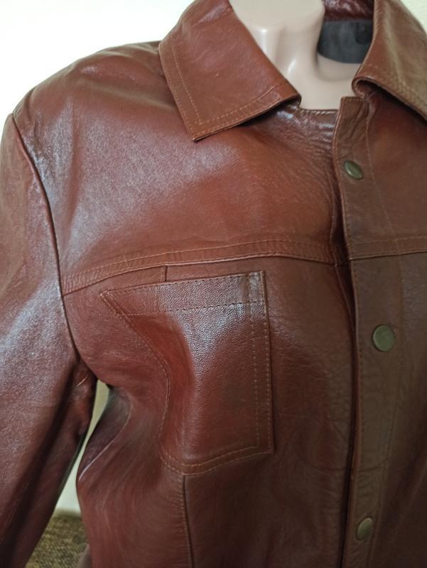 Куртка кожаная коричневая, мужская куртка демисезонная - Фото 3