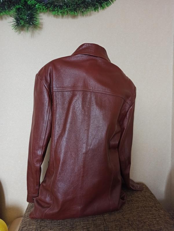 Куртка кожаная коричневая, мужская куртка демисезонная - Фото 4