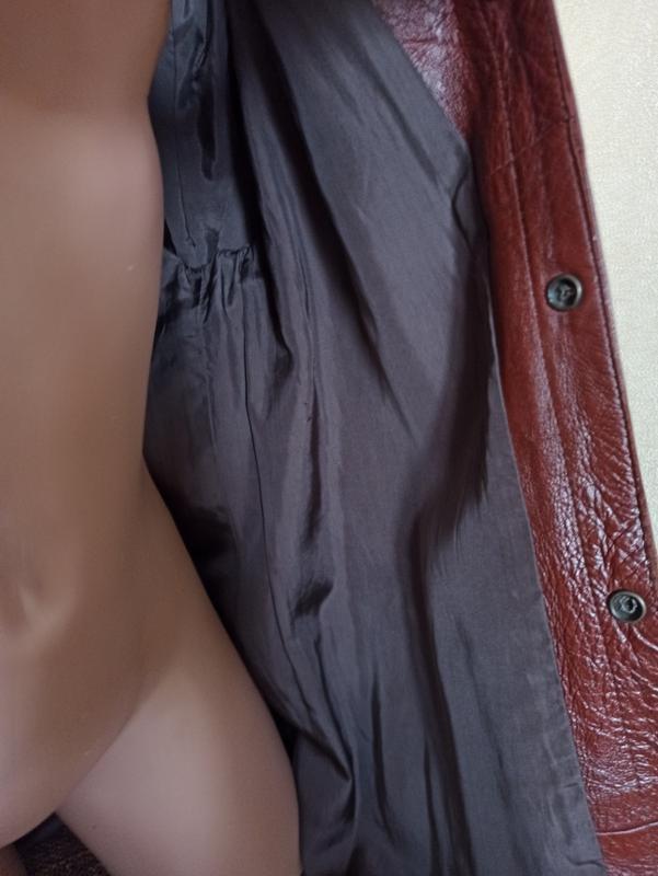 Куртка кожаная коричневая, мужская куртка демисезонная - Фото 5