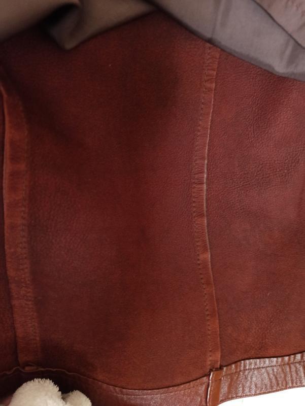 Куртка кожаная коричневая, мужская куртка демисезонная - Фото 6