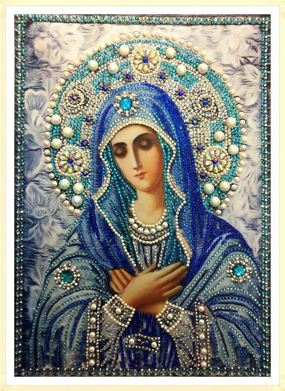 Вышивка алмазными стразами образа Умиление Божьей Матери,готовая