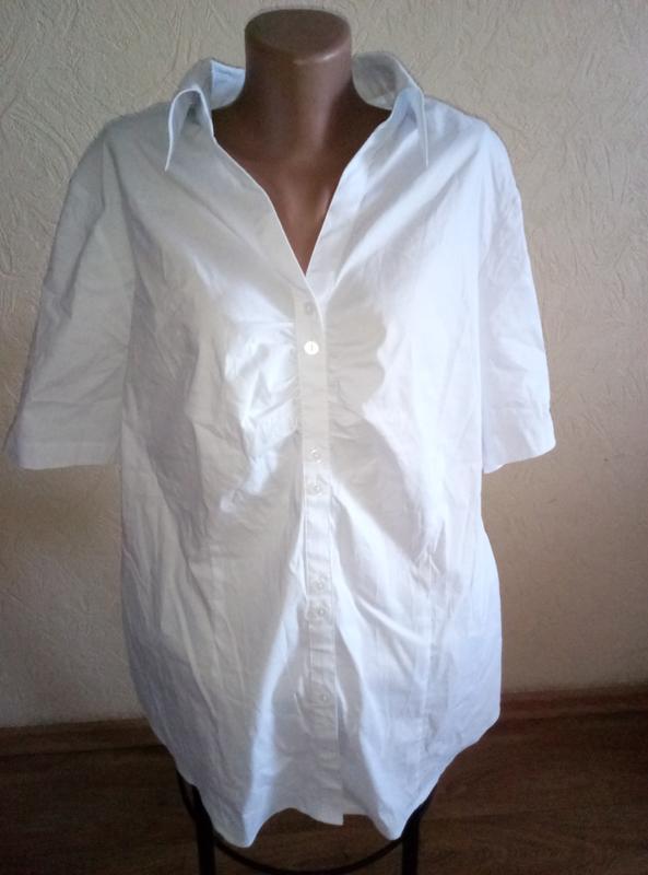 Красивая белая рубашка блузка с коротким рукавом большой разме... - Фото 2