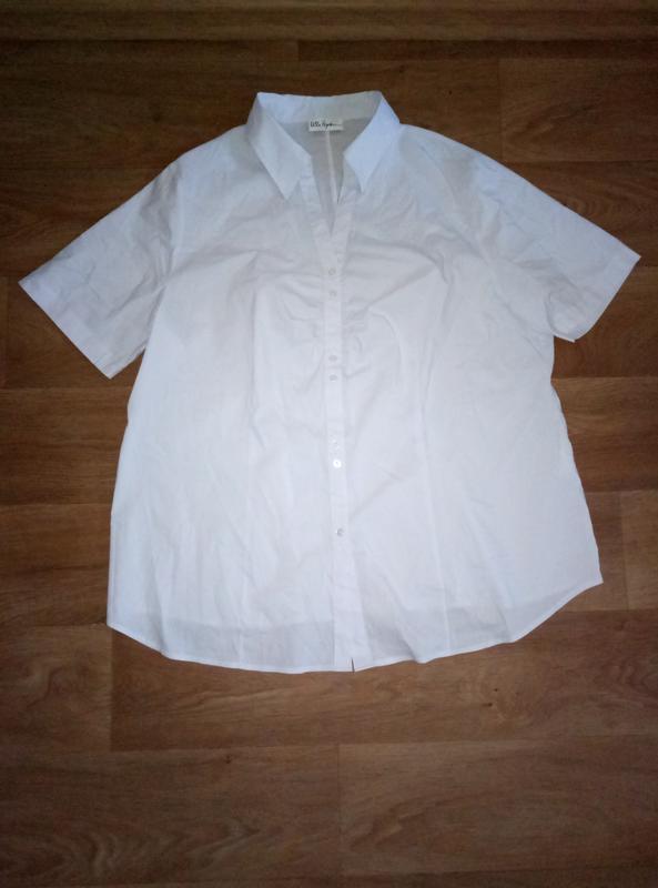 Красивая белая рубашка блузка с коротким рукавом большой разме...