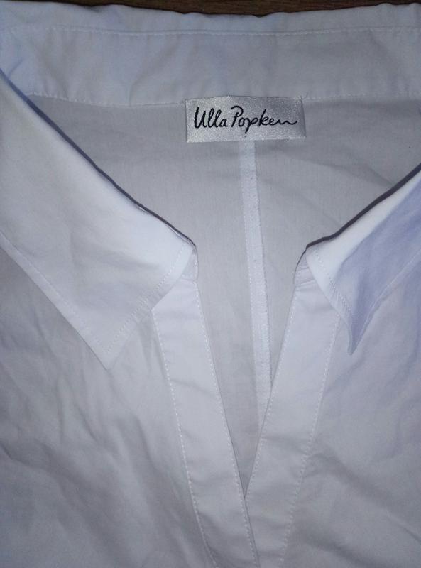 Красивая белая рубашка блузка с коротким рукавом большой разме... - Фото 3