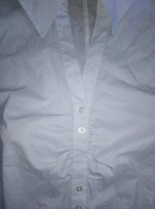 Красивая белая рубашка блузка с коротким рукавом большой разме... - Фото 4
