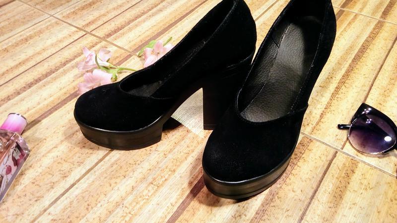 Замшевые туфли на толстом каблуке и платформе - Фото 2