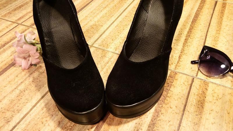 Замшевые туфли на толстом каблуке и платформе - Фото 3
