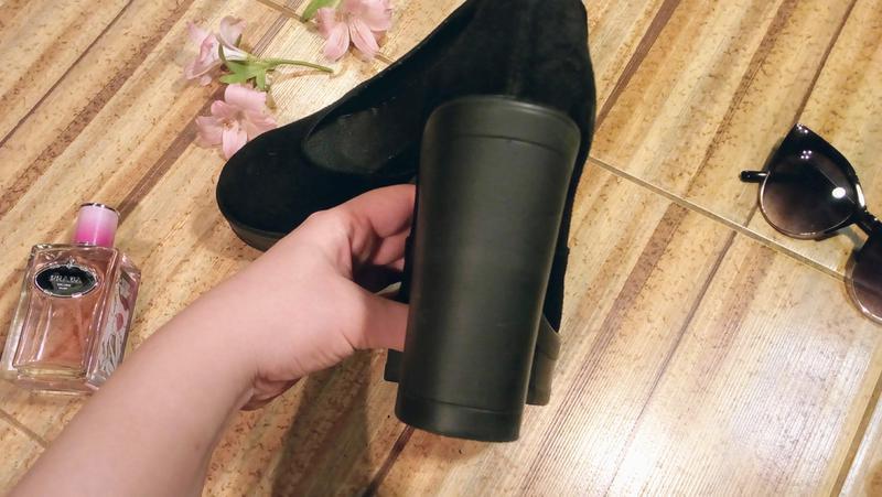 Замшевые туфли на толстом каблуке и платформе - Фото 5