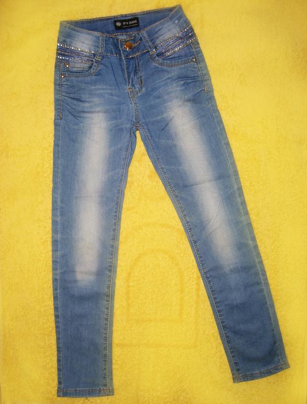 Джинсы со стразами для девочки tp jeans на 6-8 лет - Фото 2