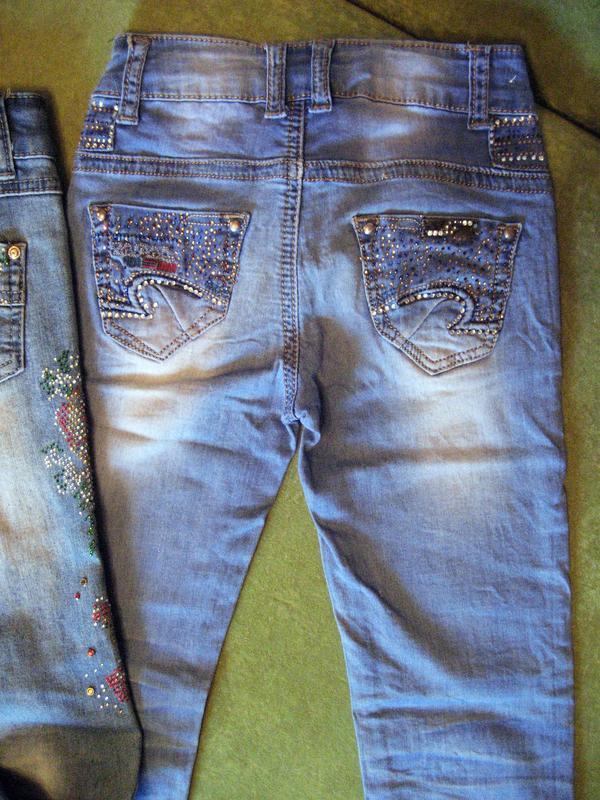 Джинсы со стразами для девочки tp jeans на 6-8 лет - Фото 7