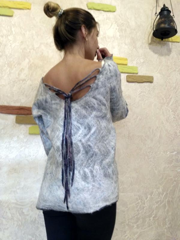 Свитшот свитер ручной работы - Фото 2