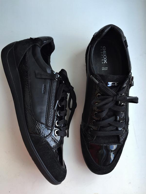 Кожаные кеды geox 39 р. замшевые лакированные туфли кроссовки