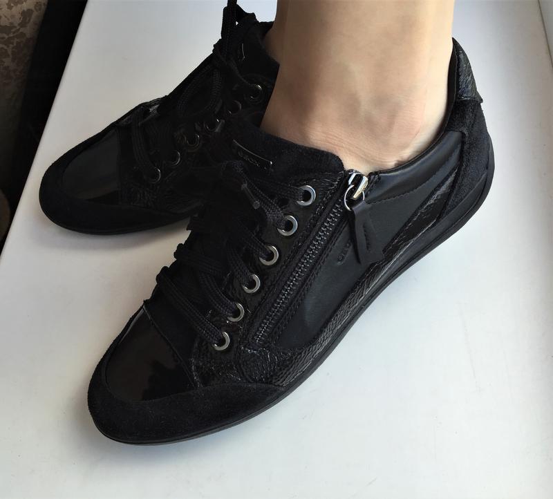 Кожаные кеды geox 39 р. замшевые лакированные туфли кроссовки - Фото 2