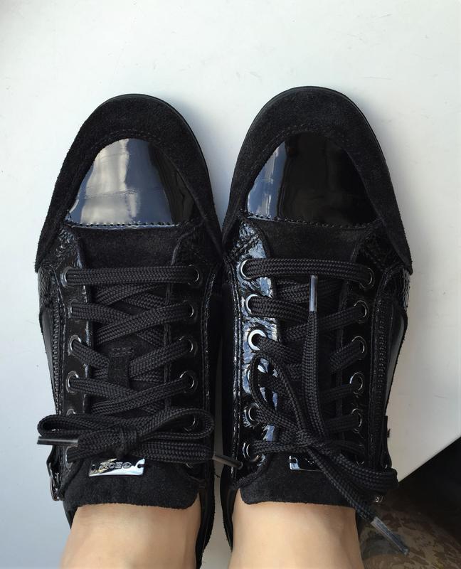 Кожаные кеды geox 39 р. замшевые лакированные туфли кроссовки - Фото 3