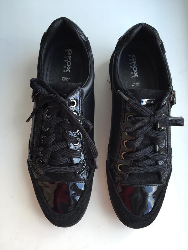 Кожаные кеды geox 39 р. замшевые лакированные туфли кроссовки - Фото 5