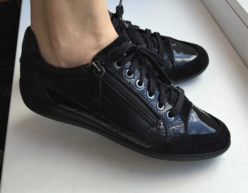 Кожаные кеды geox 39 р. замшевые лакированные туфли кроссовки - Фото 10