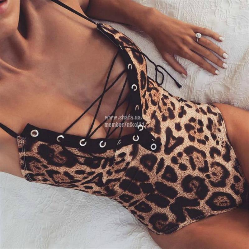 Боди на шнуровке 🔥 леопардовый принт монокини топ майка комбид... - Фото 7