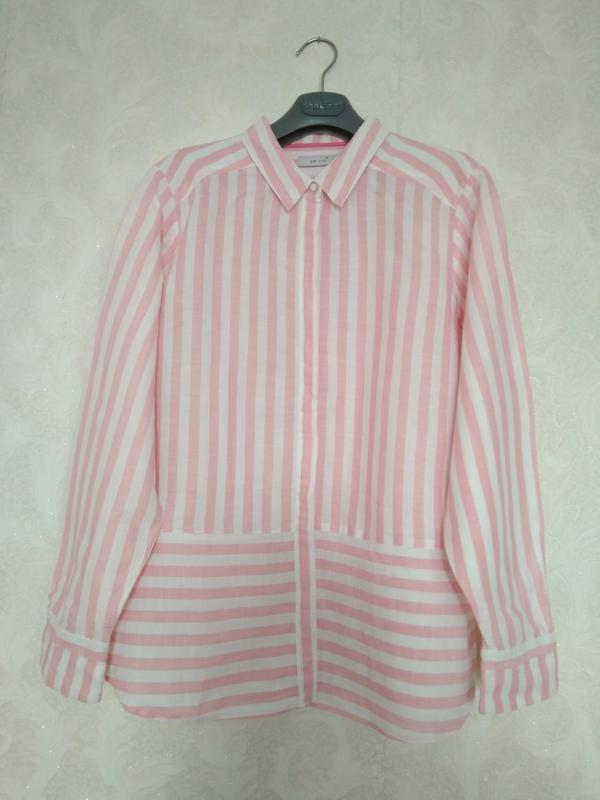 Натуральная принтовая рубашка лен коттон бренда marks& spencer...