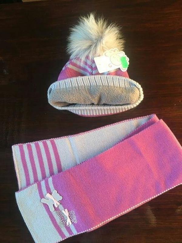 Детский комплект весенняя шапочка шапка и шарфик на девочку - Фото 2