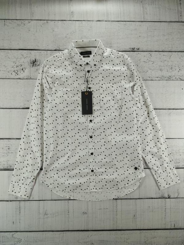 Рубашка белая классика с абстрактным принтом casual friday - Фото 2