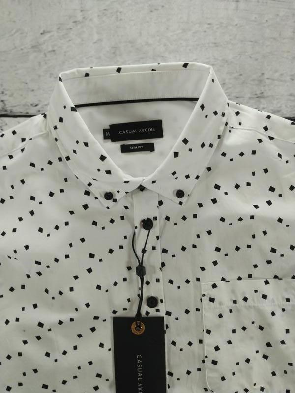 Рубашка белая классика с абстрактным принтом casual friday - Фото 3