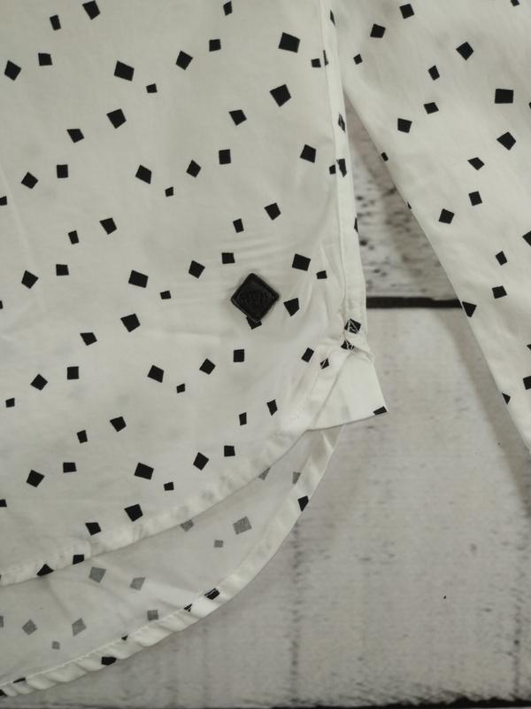 Рубашка белая классика с абстрактным принтом casual friday - Фото 5