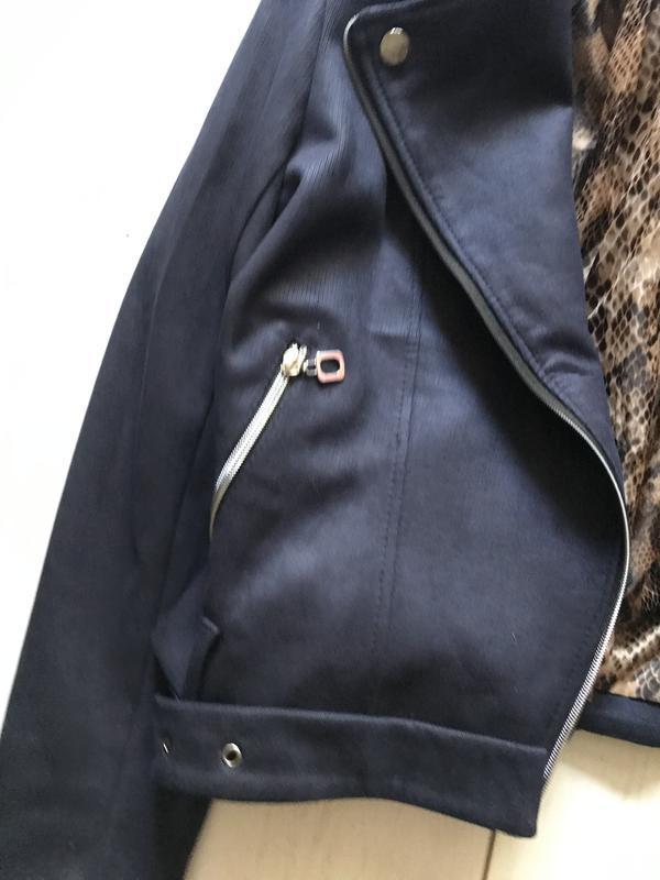 Темно синяя куртка косуха под замш - Фото 3